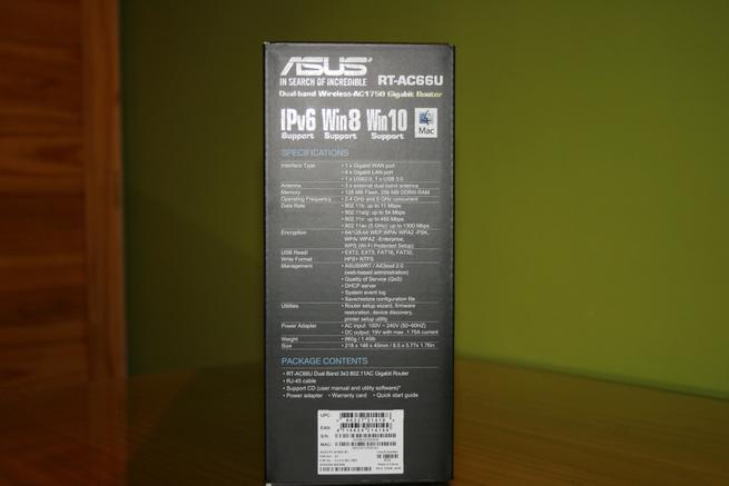 Especificaciones de la caja del router ASUS RT-AC66U B1