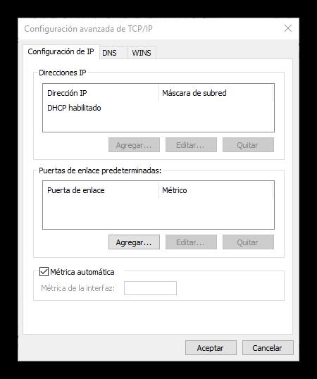 Cambiar métrica adaptador de red Windows 10