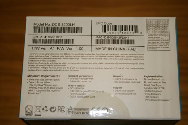 Inferior de la caja de la cámara IP D-Link DCS-8200LH