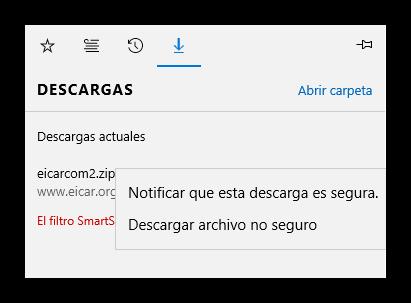 Descargar archivo bloqueado por SmartScreen en Edge