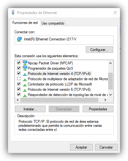Propiedades de Ethernet Windows 10