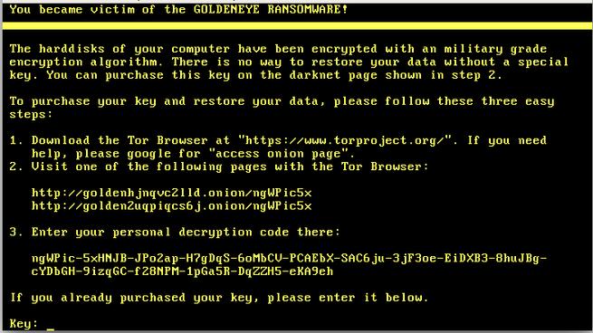 Ransomware Goldeneye
