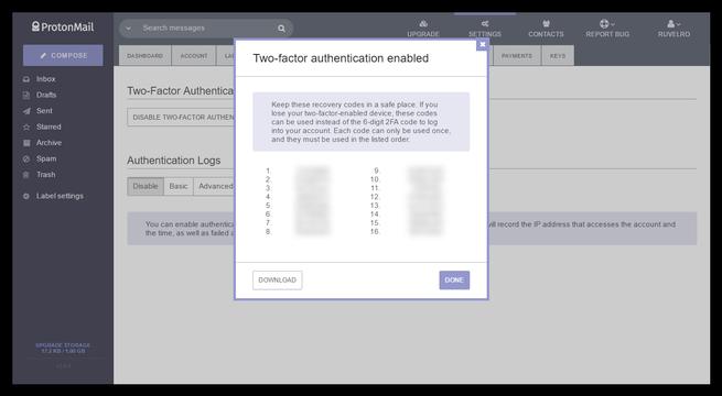 Recuperación cuenta ProtonMail