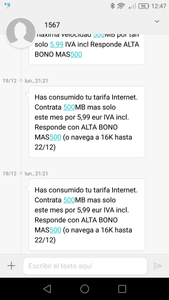 SMS bonos de datos