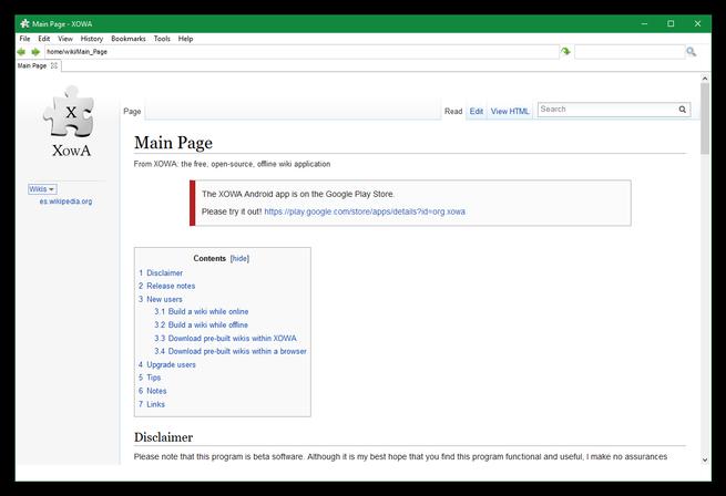 XOWA - Seleccionar Wikis descargadas