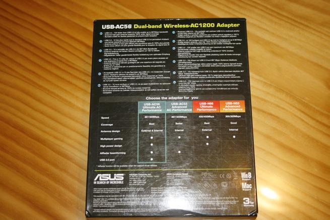 Parte trasera de la caja de la tarjeta Wi-Fi ASUS USB-AC56