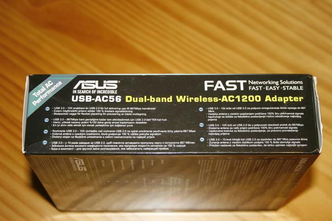 Lateral de la tarjeta Wi-Fi ASUS USB-AC56 en todo detalle