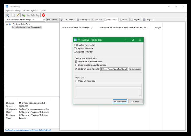 Areca Backup - Realizar nueva copia de seguridad