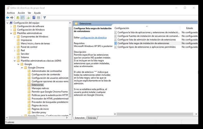 Configurar plantillas administrativas de Google Chrome
