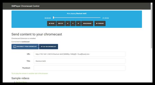 Controlar reproduccion SMPlayer Chromecast