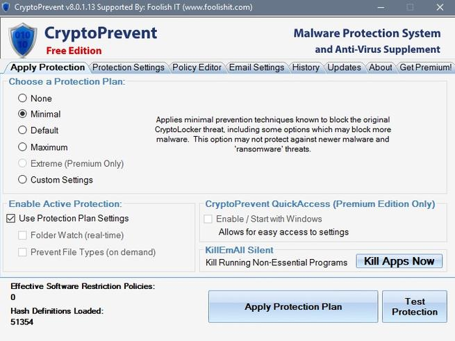 CryptoPrevent 8 antimalware disponible para windows