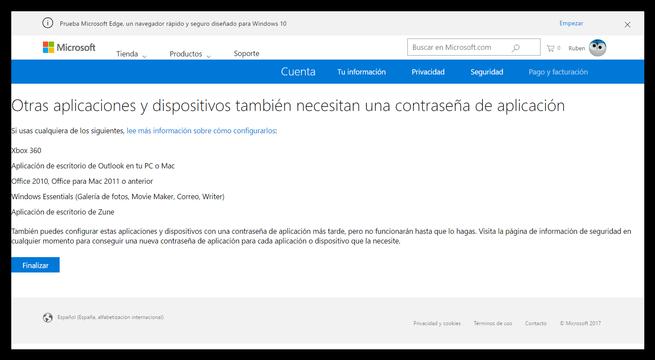 Cuenta Microsoft - Configurar 2fa