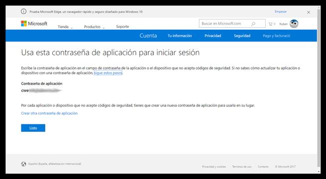 Cuenta Microsoft - Contraseña única