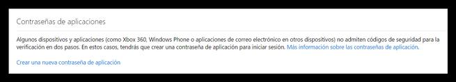 Cuenta Microsoft - Contraseñas de aplicaciones