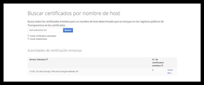 Informe de transparencia de certificado de Google