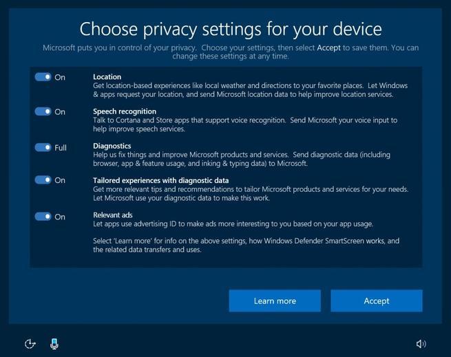 Nuevas funciones de privacidad Windows 10