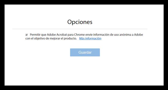 Opciones de envio de datos Adobe Chrome