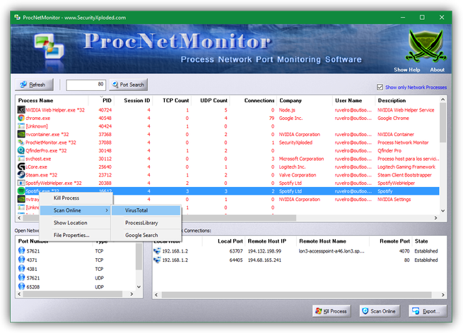 Process Network Monitor - menú contextual