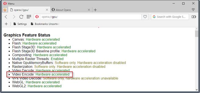 opera 44 aceleracion hardware