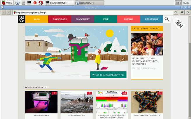 web navegador para raspberry pi