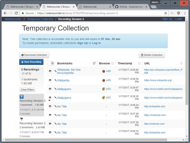webrecorder grabar navegacion web de navegadores
