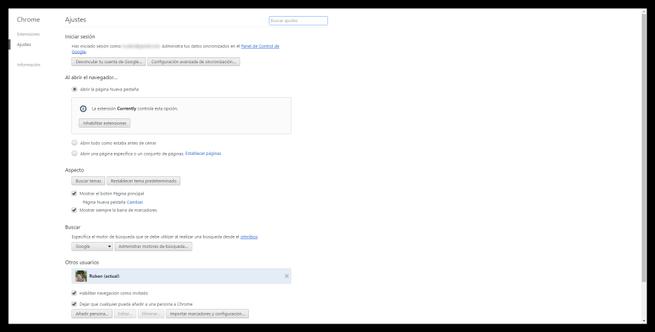 Ajustes de Google Chrome