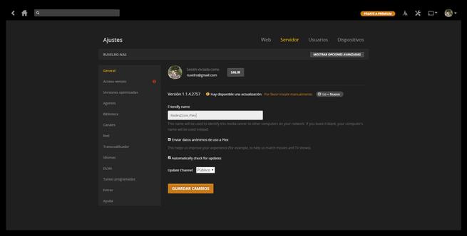 Cambiar el nombre a servidor Plex