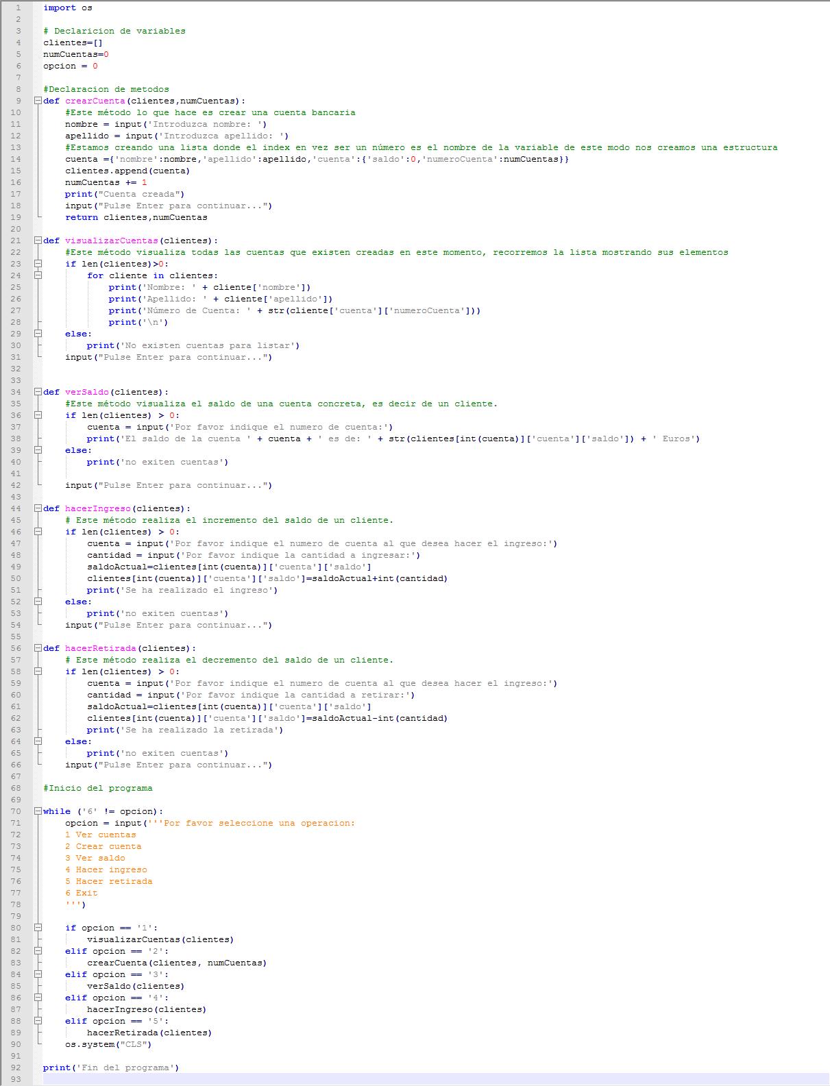 Código completo de la aplicación Python