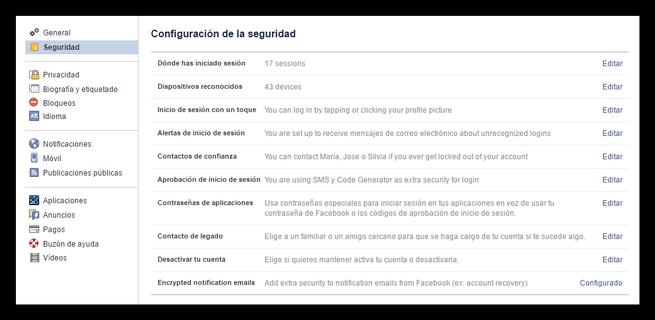 Configuracion de seguridad de Facebook