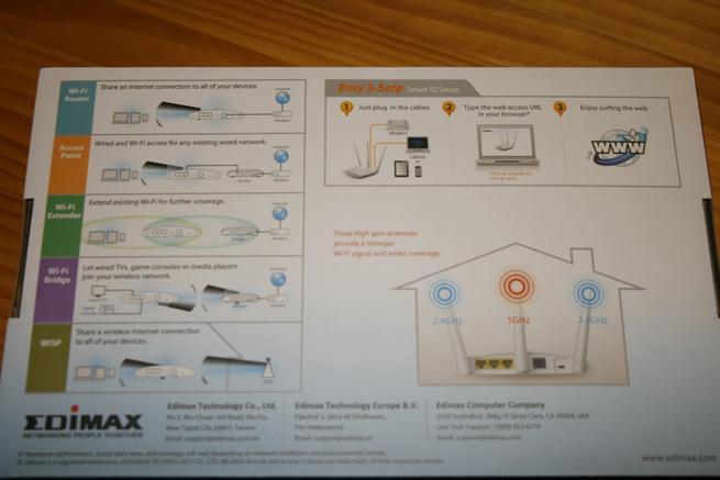 Trasera de la caja del router Edimax BR-6208AC V2