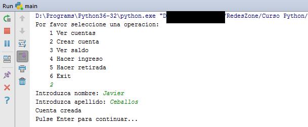 Ejecución del ejemplo Python en PyCharm