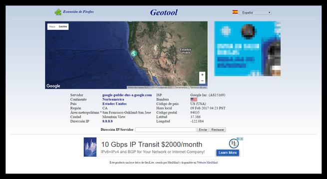 Geotool - Analizar IP
