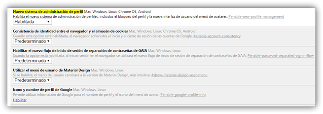 Habilitar nuevo administrador de perfiles de Google Chrome