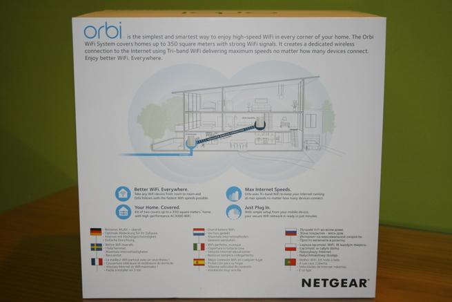 Trasera de la caja del NETGEAR Orbi RBK50