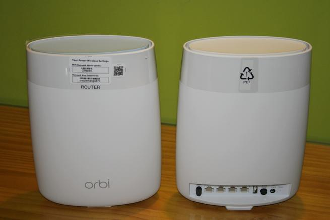 Vista en detalle del NETGEAR Orbi Router y NETGEAR Orbi Satélite