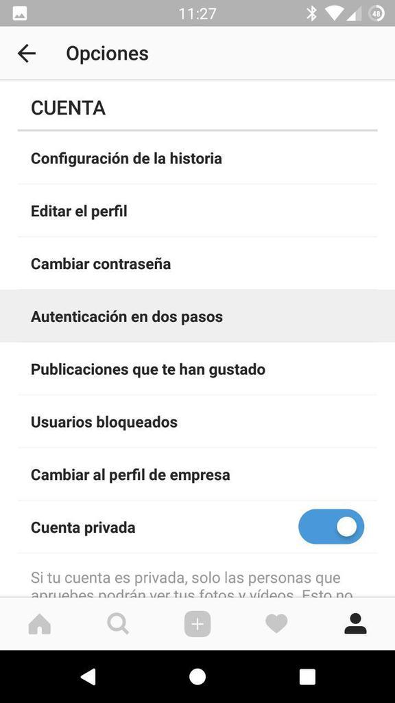 Ajustes perfil Instagram - Doble Autenticacion