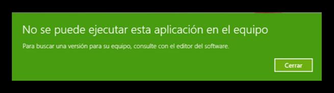 No se puede ejecutar esta aplicación en el equipo - Error Windows 10