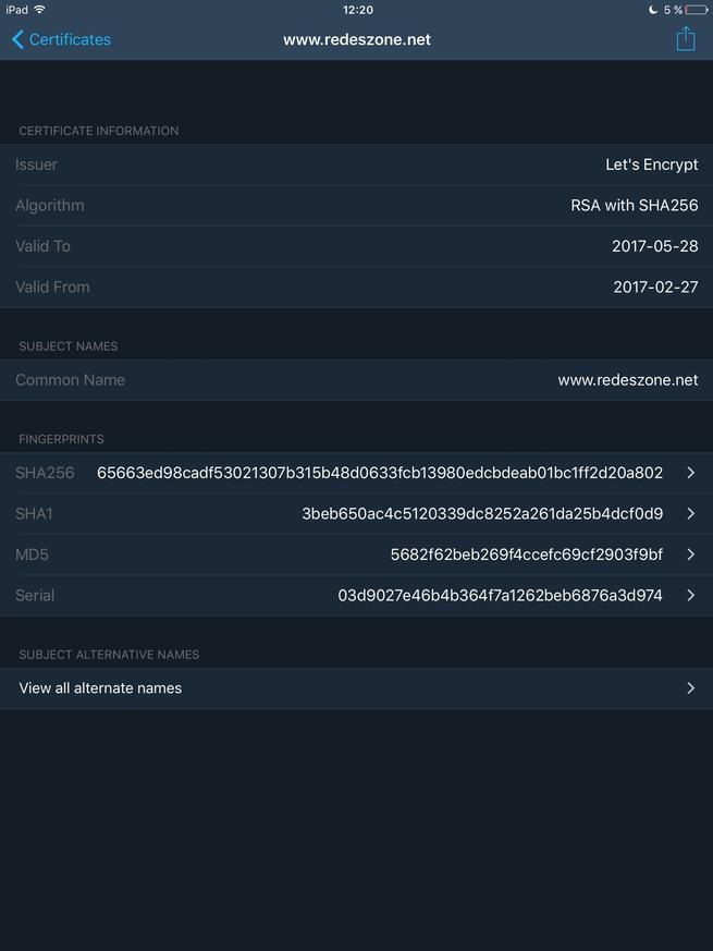 TLS Inspector - Detalles certificado RedesZone