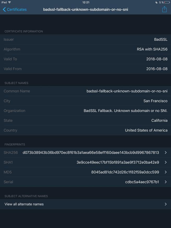 TLS Inspector - Detalles certificado bad