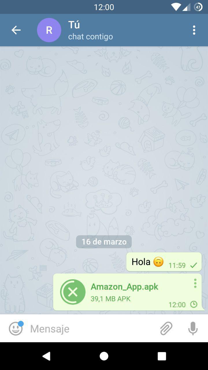 Telegram - Enviar archivo desde Android a PC