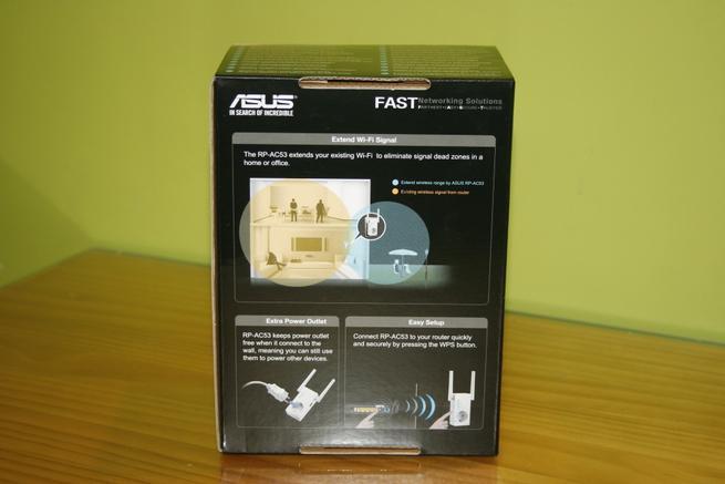 Trasera de la caja del repetidor Wi-Fi ASUS RP-AC53