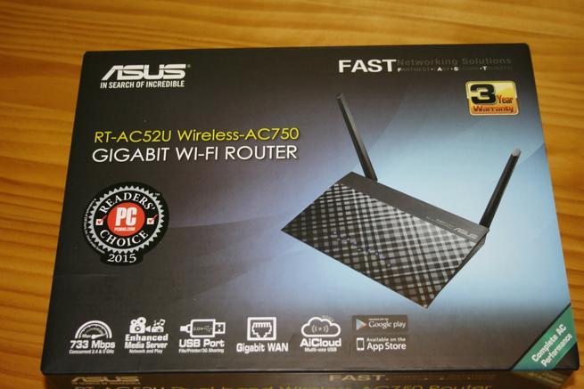Frontal de la caja del router neutro ASUS RT-AC52U B1
