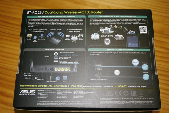 Trasera de la caja del router neutro ASUS RT-AC52U B1