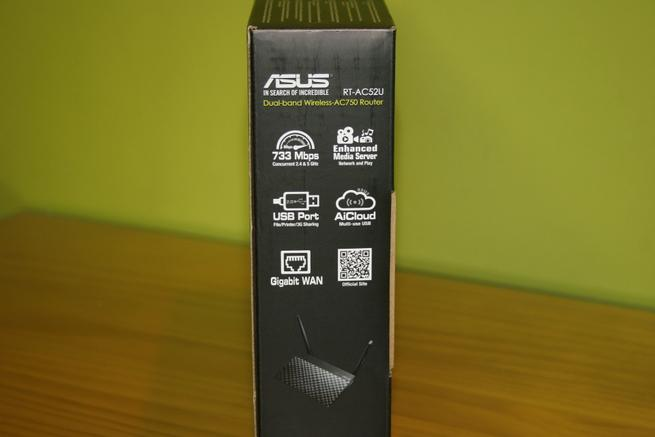Lateral derecha de la caja del router neutro ASUS RT-AC52U B1