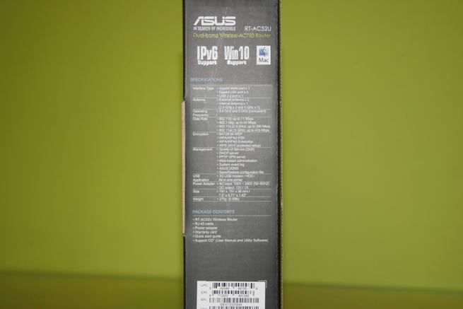 Lateral izquierda de la caja del router neutro ASUS RT-AC52U B1
