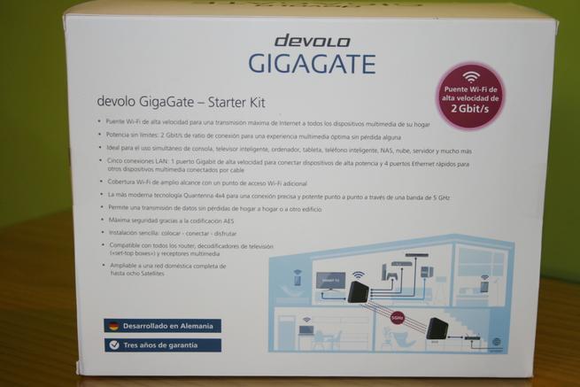 Trasera de la caja del puente Wi-Fi devolo GigaGate