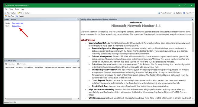 Abrir captura de paquetes Microsoft Network Monitor