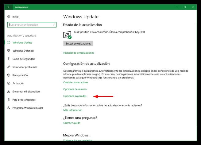 Actualizacion y seguridad Windows 10 Creators Update