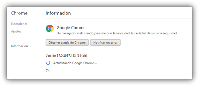 Actualizando a Google Chrome 58