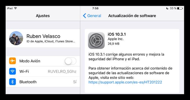 Actualizar iOS 10.3.1